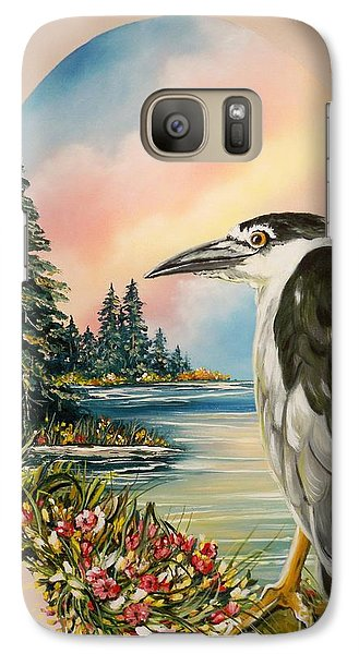 Galaxy Case featuring the painting Black Crowned Heron by Sigrid Tune
