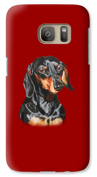 Galaxy Case featuring the painting Black Dachshund Accessories by Jimmie Bartlett