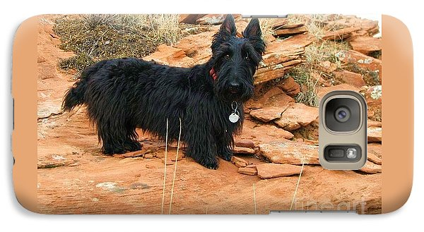 Galaxy Case featuring the photograph Black Dog Red Rock by Michele Penner