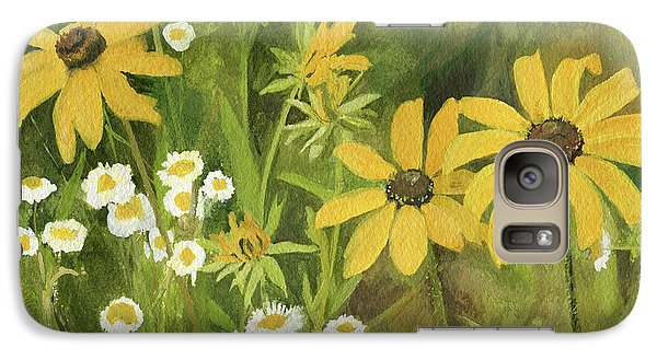 Galaxy Case featuring the painting Black-eyed Susans In A Field by Laurie Rohner