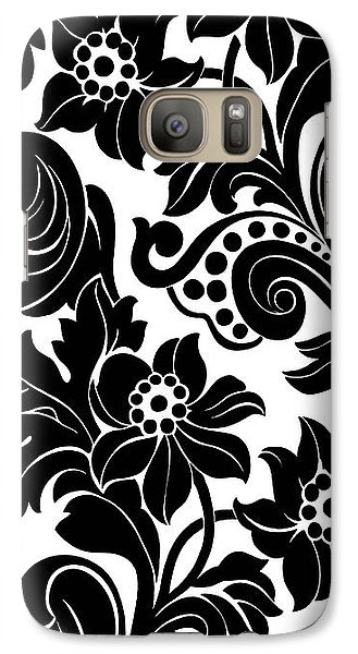 Black Floral Pattern On White With Dots Galaxy Case by Gillham Studios