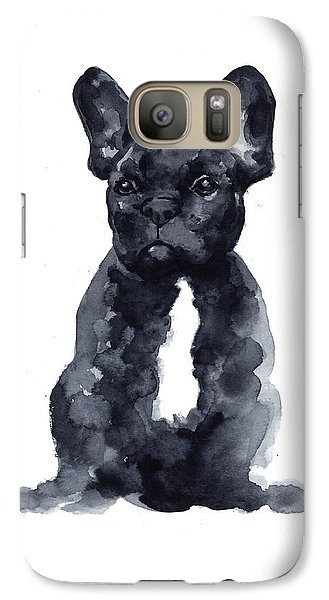 Black French Bulldog Watercolor Poster Galaxy S7 Case