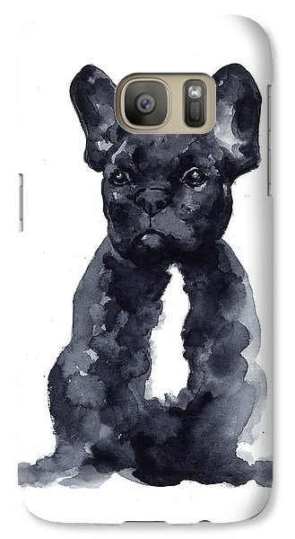 Bull Galaxy S7 Case - Black French Bulldog Watercolor Poster by Joanna Szmerdt
