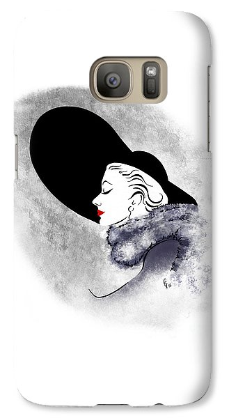 Galaxy Case featuring the digital art Black Hat Red Lips by Cindy Garber Iverson