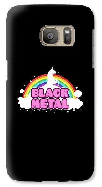 Black Metal Funny Unicorn / Rainbow Mosh Parody Design Galaxy S7 Case