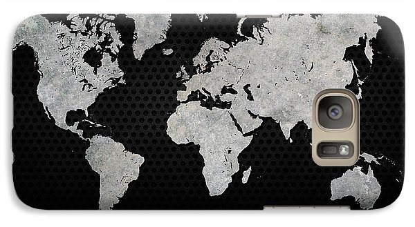Galaxy Case featuring the digital art Black Metal Industrial World Map by Douglas Pittman