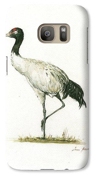 Crane Galaxy S7 Case - Black Necked Crane by Juan Bosco