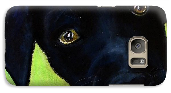 Galaxy Case featuring the painting Black Puppy - Shelter Dog by Laura  Grisham