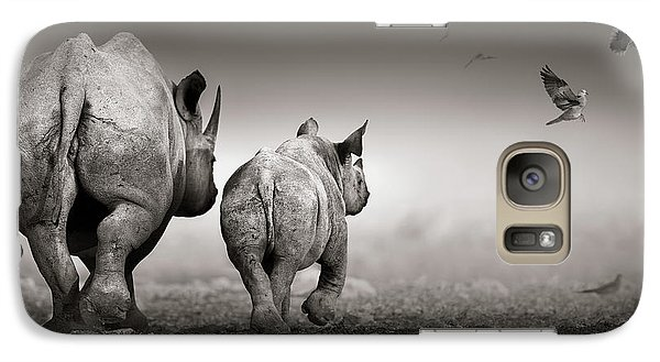 Dove Galaxy S7 Case - Black Rhino Cow With Calf  by Johan Swanepoel