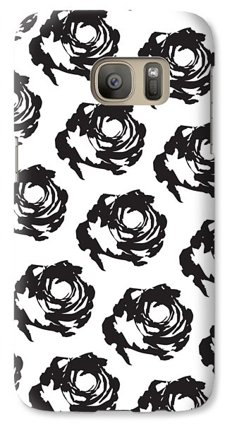 Black Rose Pattern Galaxy Case by Cortney Herron