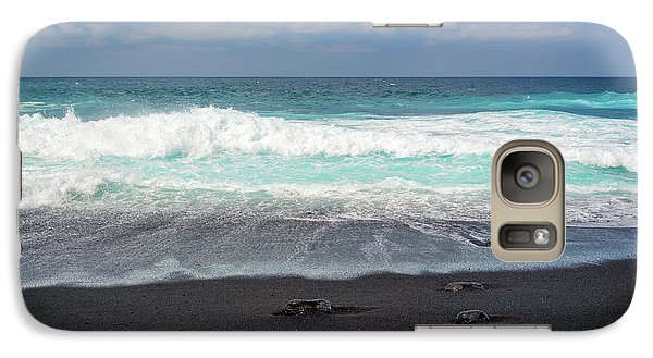 Galaxy Case featuring the photograph Black Sand Beach by Delphimages Photo Creations