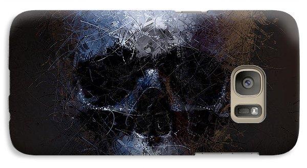 Galaxy Case featuring the digital art Black Skull by Vitaliy Gladkiy