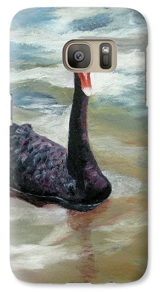 Galaxy Case featuring the painting Black Swan by Roseann Gilmore