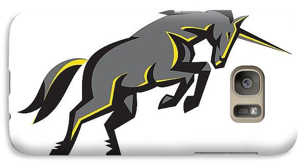 Black Unicorn Horse Charging Isolated Retro Galaxy S7 Case by Aloysius Patrimonio