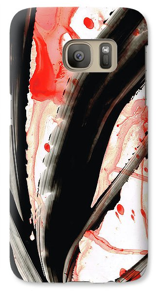 Galaxy Case featuring the painting Black White Red Art - Tango 2 - Sharon Cummings by Sharon Cummings