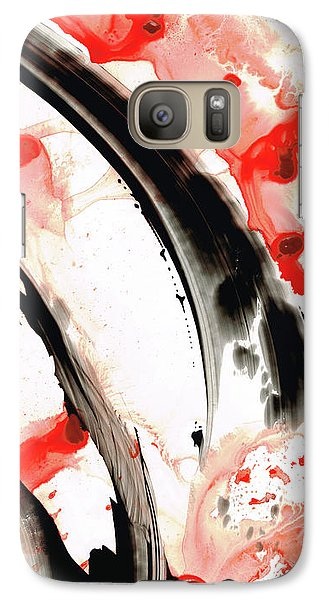 Galaxy Case featuring the painting Black White Red Art - Tango 3 - Sharon Cummings by Sharon Cummings