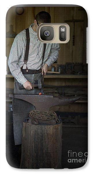 Galaxy Case featuring the photograph Blacksmith At Work by Liane Wright