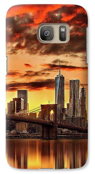 Blazing Manhattan Skyline Galaxy S7 Case by Az Jackson