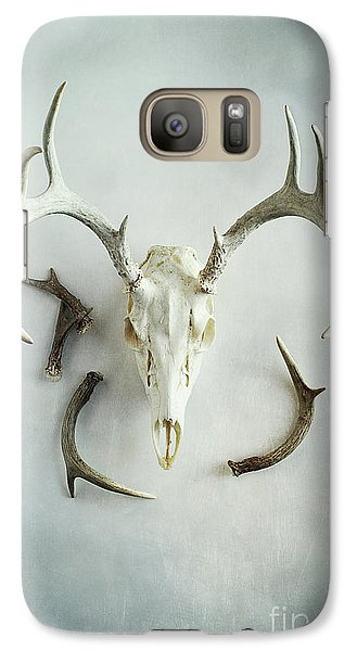 Galaxy Case featuring the photograph Bleached Stag Skull by Stephanie Frey