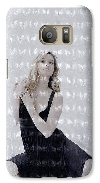 Galaxy Case featuring the photograph Blonde Girl Crouching by Michael Edwards