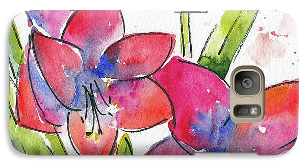 Galaxy Case featuring the painting Blooming Amaryllis by Pat Katz