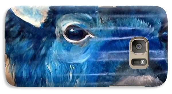 Galaxy Case featuring the painting Blu Bison by Patty Sjolin