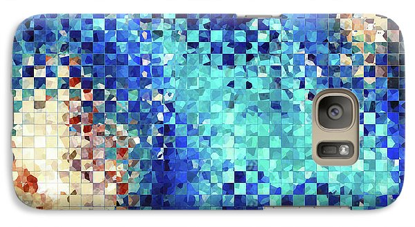 Galaxy Case featuring the painting Blue Abstract Art - Pieces 2 - Sharon Cummings by Sharon Cummings