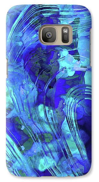 Galaxy Case featuring the painting Blue Abstract Art - Reflections - Sharon Cummings by Sharon Cummings