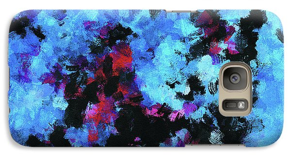 Galaxy Case featuring the painting Blue And Black Abstract Wall Art by Ayse Deniz