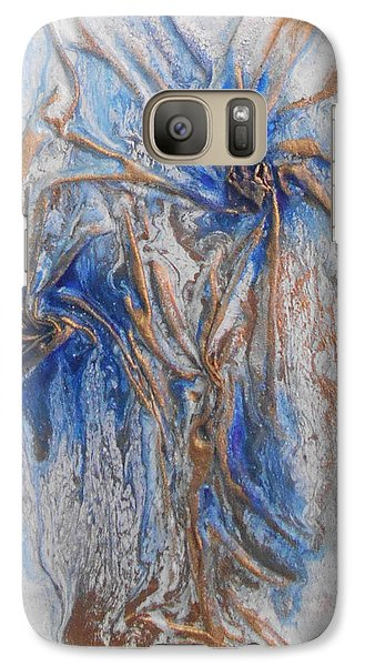 Galaxy Case featuring the mixed media Blue And Gold 1 by Angela Stout
