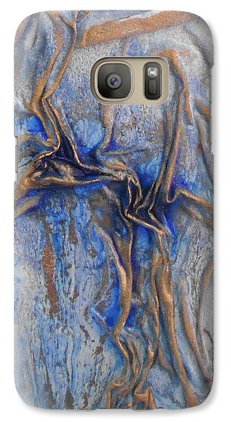 Galaxy Case featuring the mixed media Blue And Gold 2 by Angela Stout