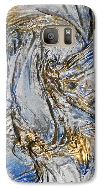 Galaxy Case featuring the mixed media Blue And Gold 3 by Angela Stout