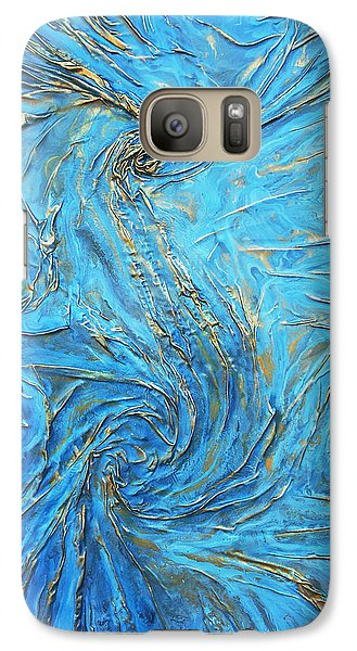 Galaxy Case featuring the mixed media blue and gold S by Angela Stout