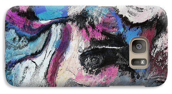 Galaxy Case featuring the painting Blue And Pink Abstract Painting by Ayse Deniz