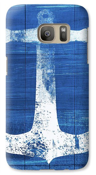 Galaxy Case featuring the mixed media Blue And White Anchor- Art By Linda Woods by Linda Woods