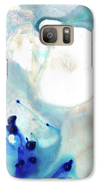 Galaxy Case featuring the painting Blue And White Art - A Short Wave - Sharon Cummings by Sharon Cummings