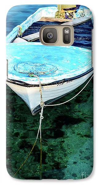 Blue And White Fishing Boat On The Adriatic - Rovinj, Croatia Galaxy S7 Case