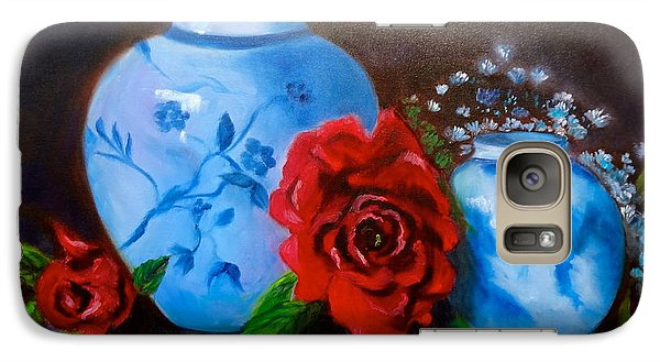 Galaxy Case featuring the painting Blue And White Pottery And Red Roses by Jenny Lee