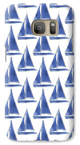 Boat Galaxy S7 Case - Blue And White Sailboats Pattern- Art By Linda Woods by Linda Woods