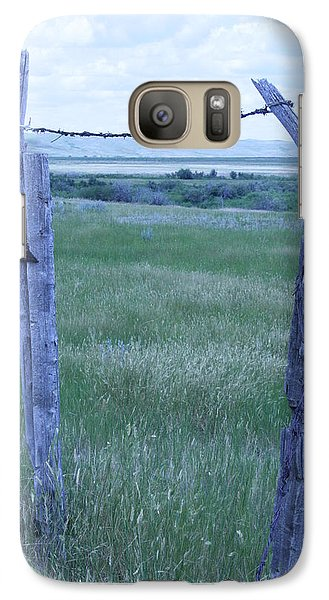 Galaxy Case featuring the photograph Blue Barbwire by Mary Mikawoz