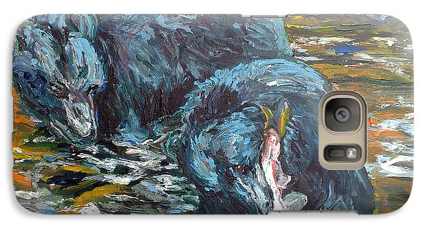 Galaxy Case featuring the painting Blue Bears Fishing by Koro Arandia