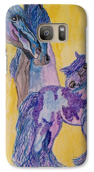 Galaxy Case featuring the painting Blue Beauties by Connie Valasco