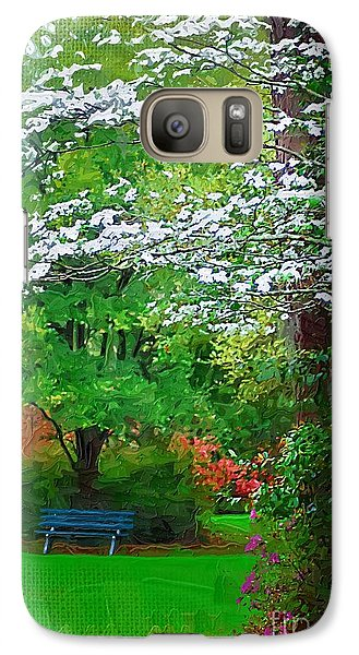 Galaxy Case featuring the photograph Blue Bench In Park by Donna Bentley