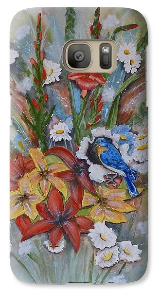 Galaxy Case featuring the painting Blue Bird Eats Thru The Painting by Kelly Mills