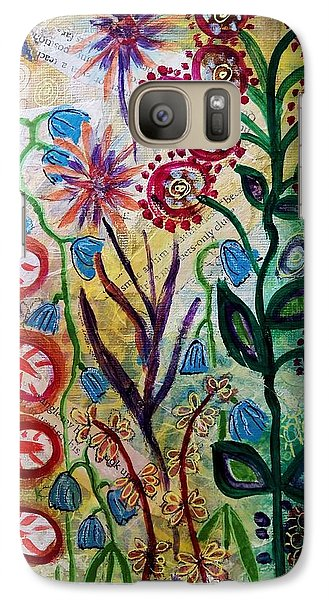 Galaxy Case featuring the mixed media Blue Bug In The Magic Garden by Mimulux patricia no No