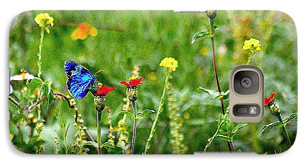 Galaxy Case featuring the photograph Blue Butterfly In Meadow by John  Kolenberg