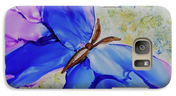 Galaxy Case featuring the painting Blue Butterfly by Joanne Smoley