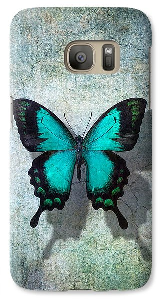Blue Butterfly Resting Galaxy Case by Garry Gay