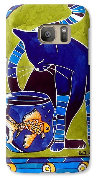 Blue Cat With Goldfish Galaxy S7 Case by Dora Hathazi Mendes