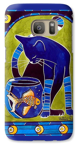 Galaxy Case featuring the painting Blue Cat With Goldfish by Dora Hathazi Mendes